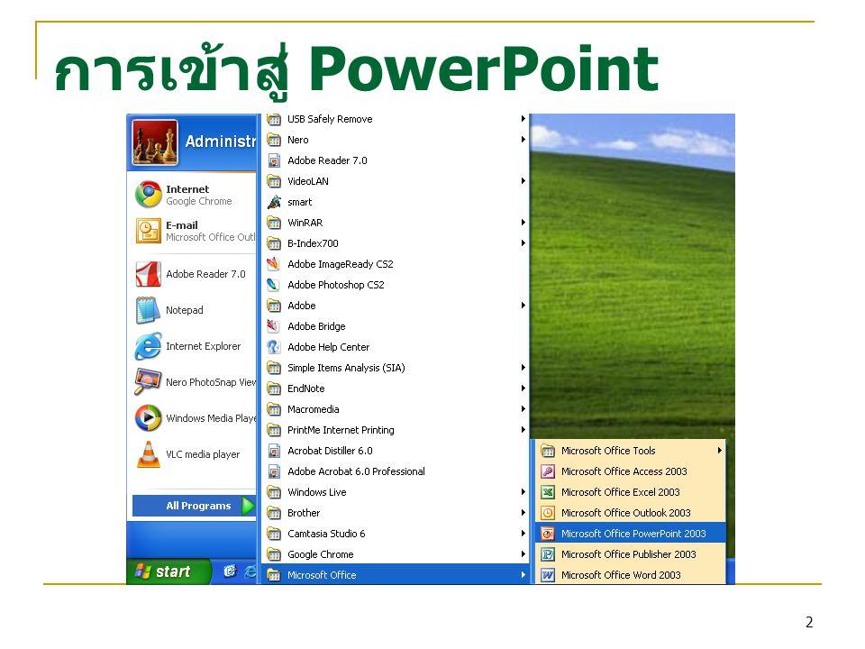 การเข้าสู่ PowerPoint