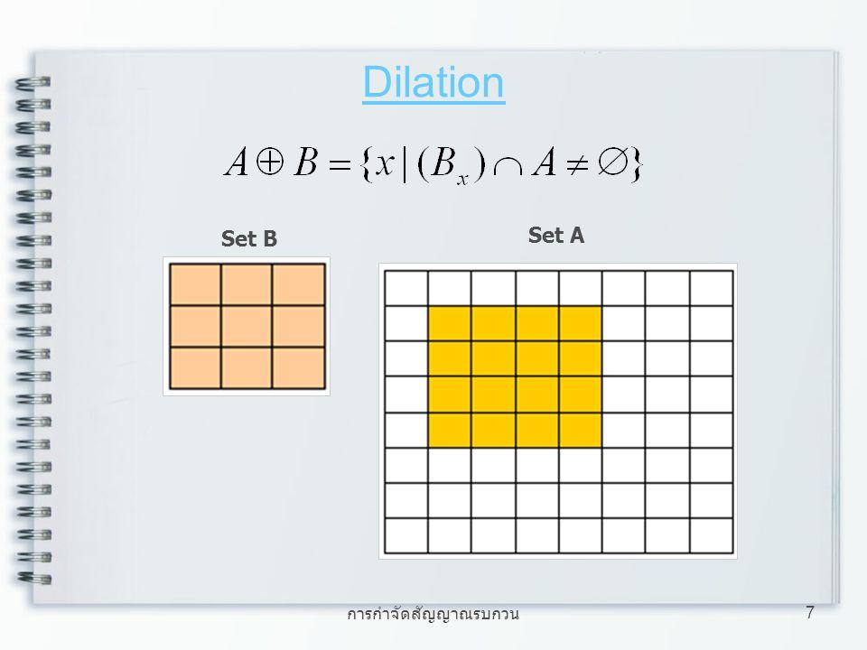 Dilation Set B Set A การกำจัดสัญญาณรบกวน