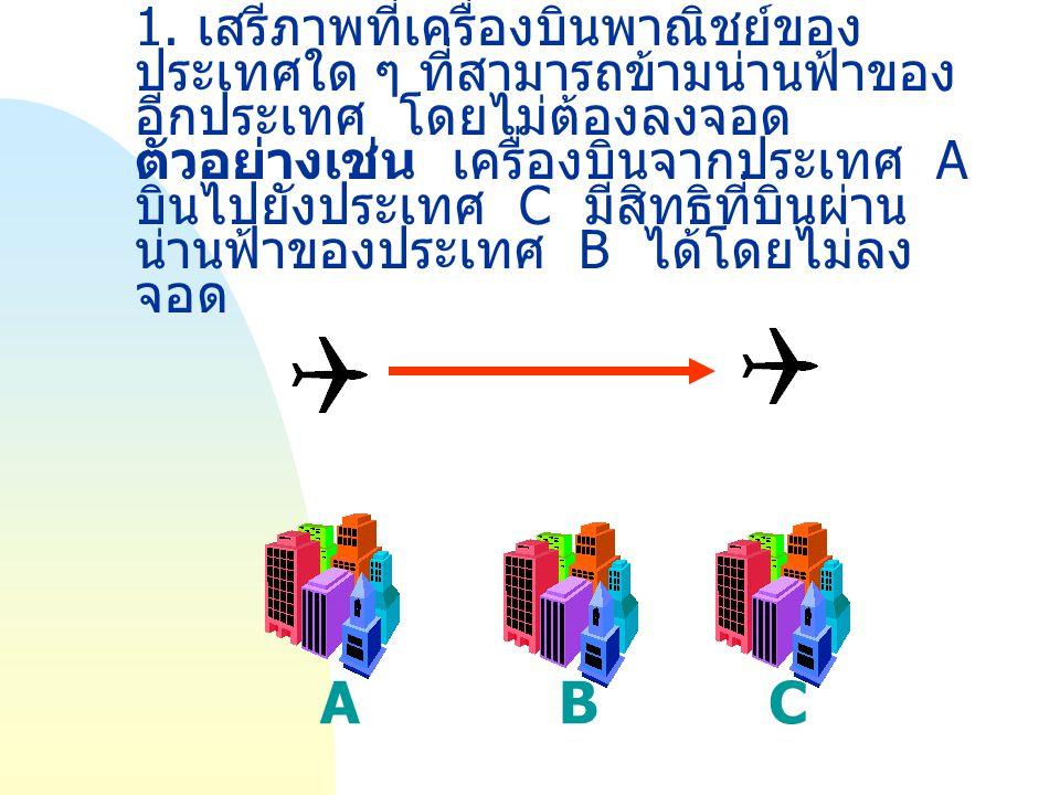 1. เสรีภาพที่เครื่องบินพาณิชย์ของประเทศใด ๆ ที่สามารถข้ามน่านฟ้าของอีกประเทศ โดยไม่ต้องลงจอด ตัวอย่างเช่น เครื่องบินจากประเทศ A บินไปยังประเทศ C มีสิทธิที่บินผ่านน่านฟ้าของประเทศ B ได้โดยไม่ลงจอด