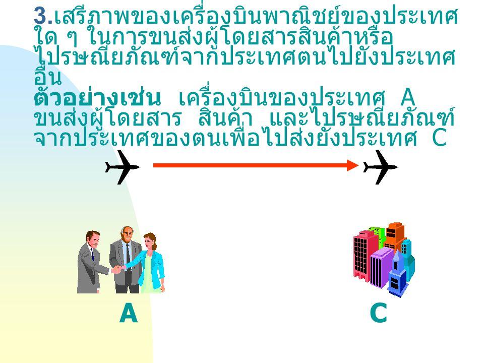 3.เสรีภาพของเครื่องบินพาณิชย์ของประเทศใด ๆ ในการขนส่งผู้โดยสารสินค้าหรือไปรษณียภัณฑ์จากประเทศตนไปยังประเทศอื่น ตัวอย่างเช่น เครื่องบินของประเทศ A ขนส่งผู้โดยสาร สินค้า และไปรษณียภัณฑ์จากประเทศของตนเพื่อไปส่งยังประเทศ C