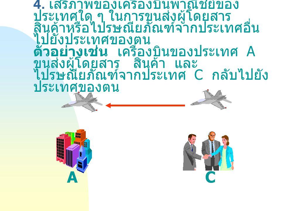 4. เสรีภาพของเครื่องบินพาณิชย์ของประเทศใด ๆ ในการขนส่งผู้โดยสาร สินค้าหรือไปรษณียภัณฑ์จากประเทศอื่นไปยังประเทศของตน ตัวอย่างเช่น เครื่องบินของประเทศ A ขนส่งผู้โดยสาร สินค้า และไปรษณียภัณฑ์จากประเทศ C กลับไปยังประเทศของตน