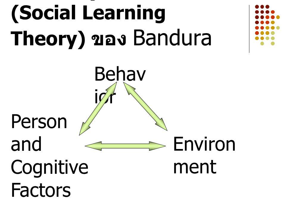 การเรียนรู้ทางสังคม (Social Learning Theory) ของ Bandura