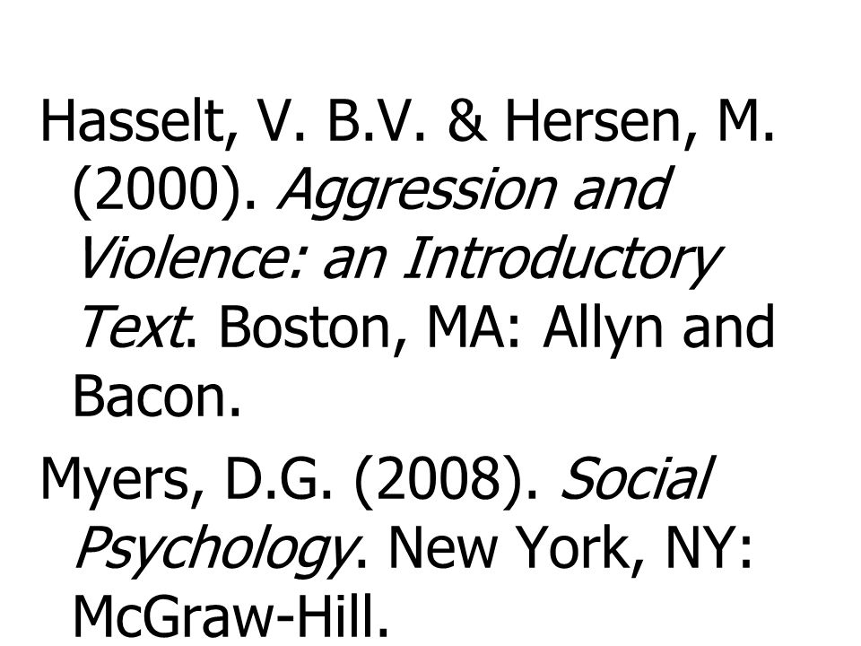 Hasselt, V. B. V. & Hersen, M. (2000)