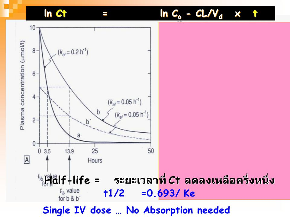 Half-life = ระยะเวลาที่ Ct ลดลงเหลือครึ่งหนึ่ง