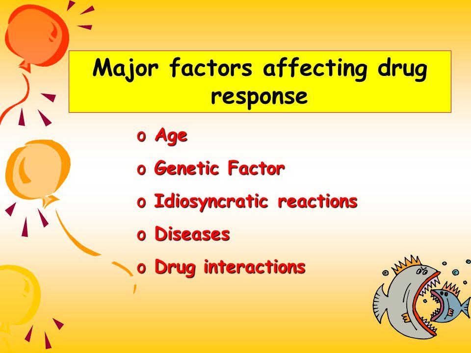 Major factors affecting drug response