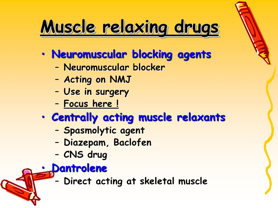Muscle relaxing drugs Neuromuscular blocking agents