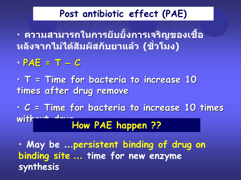 Post antibiotic effect (PAE)