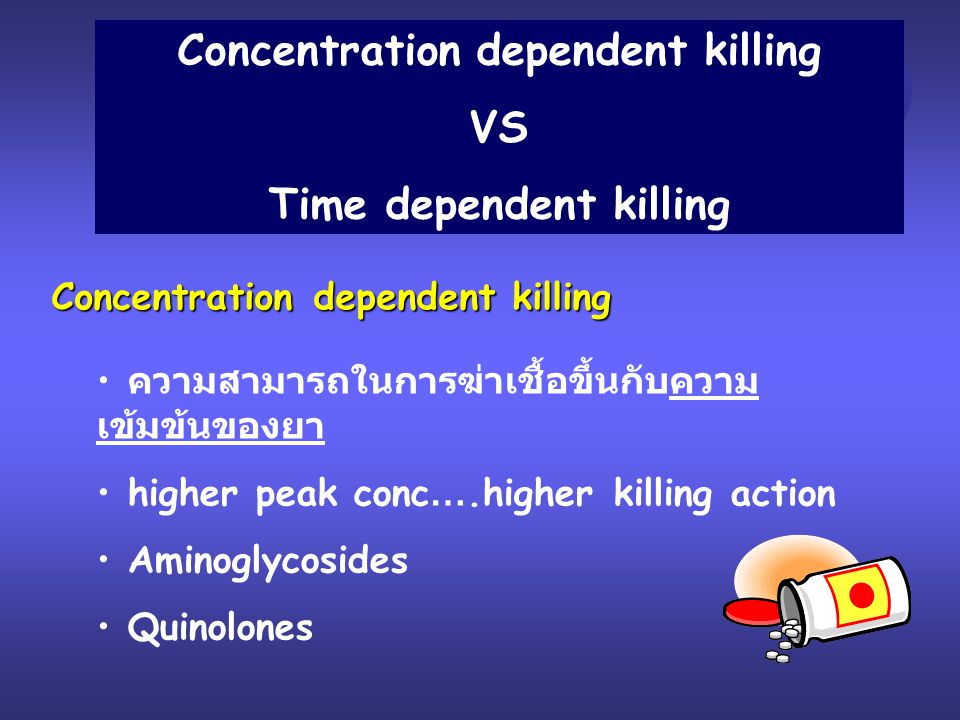 Concentration dependent killing Time dependent killing