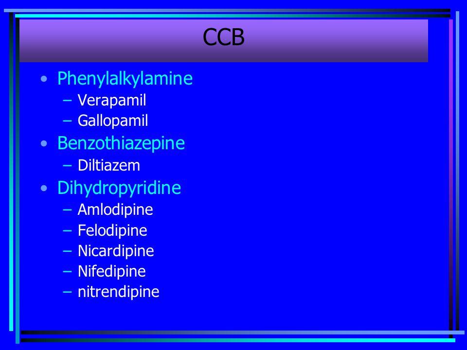 CCB Phenylalkylamine Benzothiazepine Dihydropyridine Verapamil