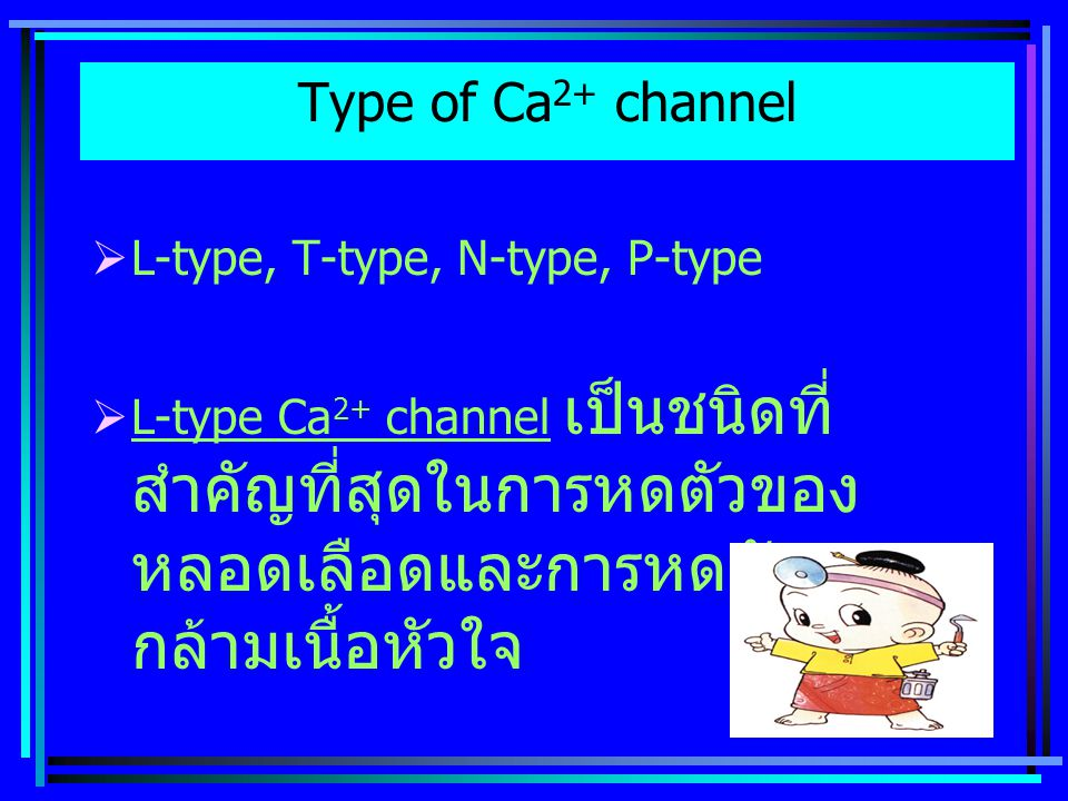 Type of Ca2+ channel L-type, T-type, N-type, P-type