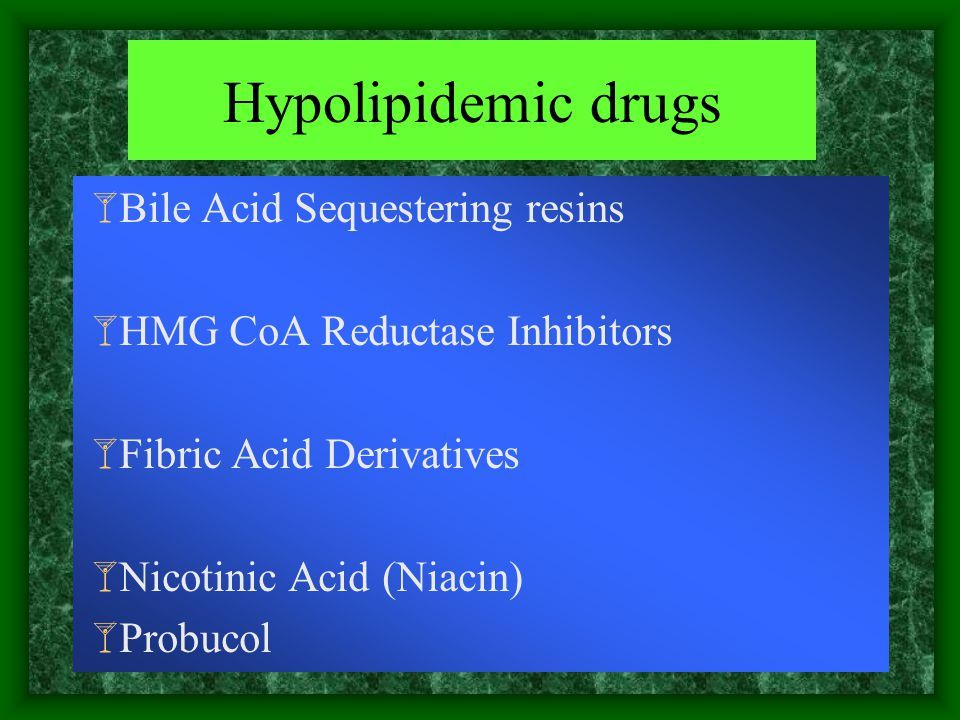 Hypolipidemic drugs Bile Acid Sequestering resins