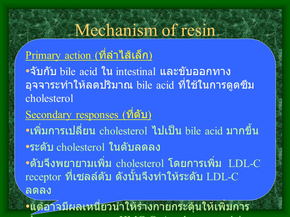 Mechanism of resin Primary action (ที่ลำไส้เล็ก)