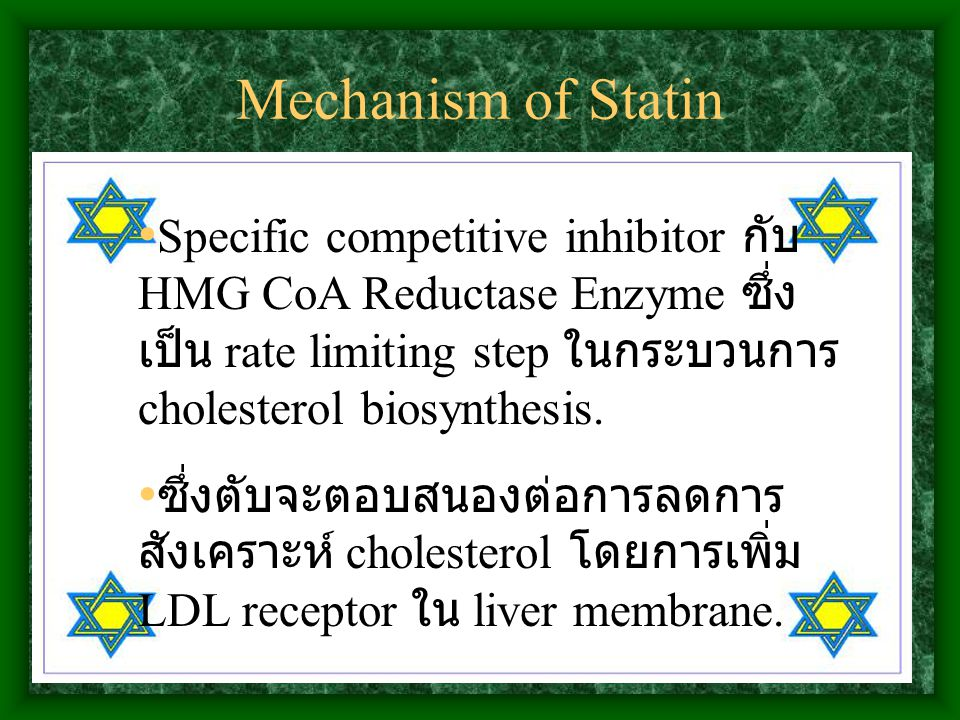 Mechanism of Statin Specific competitive inhibitor กับ HMG CoA Reductase Enzyme ซึ่งเป็น rate limiting step ในกระบวนการ cholesterol biosynthesis.