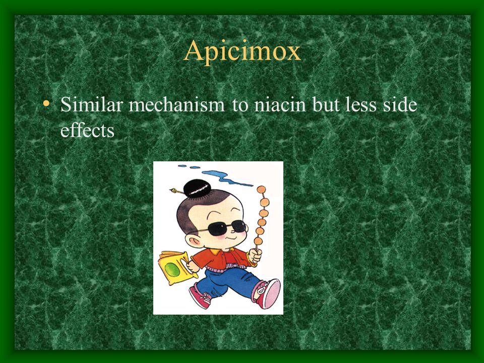 Apicimox Similar mechanism to niacin but less side effects