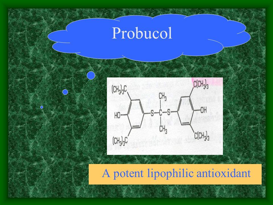 Probucol A potent lipophilic antioxidant