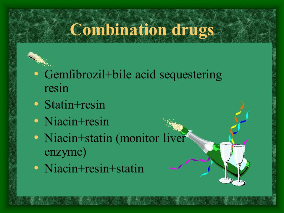 Combination drugs Gemfibrozil+bile acid sequestering resin