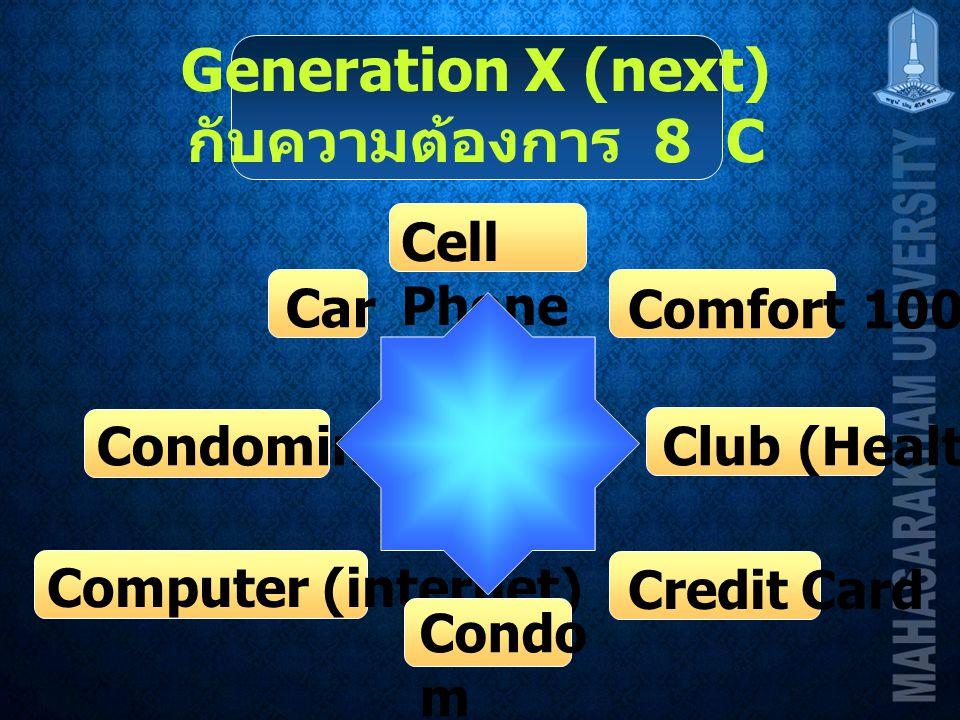 Generation X (next) กับความต้องการ 8 C