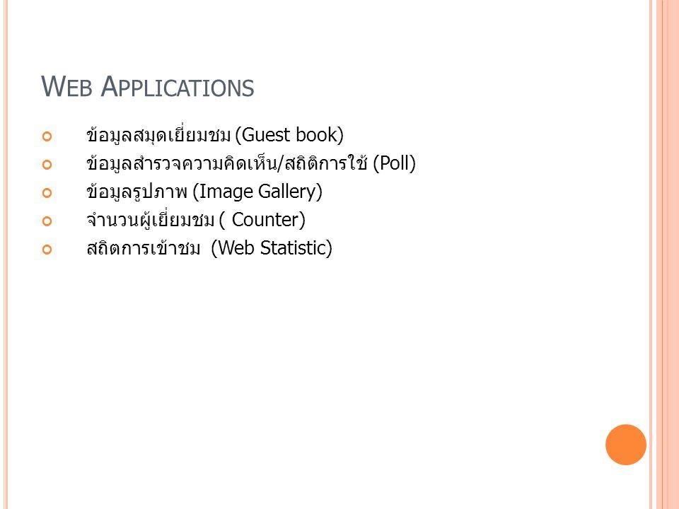 Web Applications ข้อมูลสมุดเยี่ยมชม (Guest book)