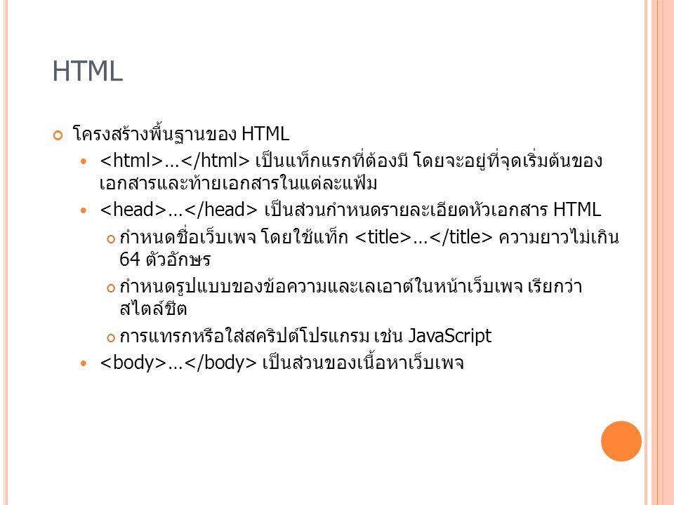 HTML โครงสร้างพื้นฐานของ HTML