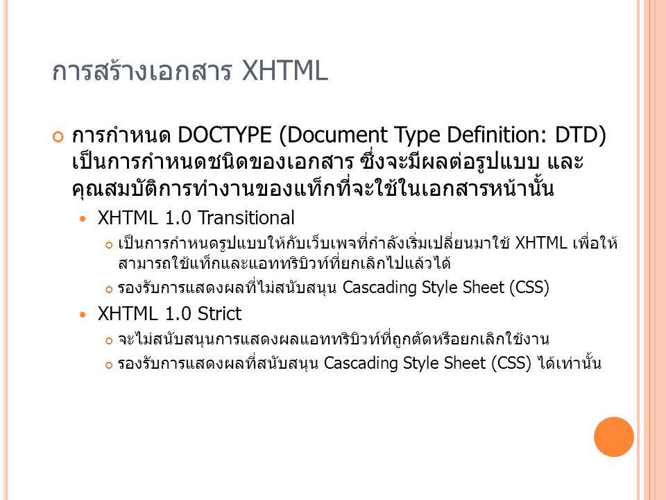 การสร้างเอกสาร XHTML