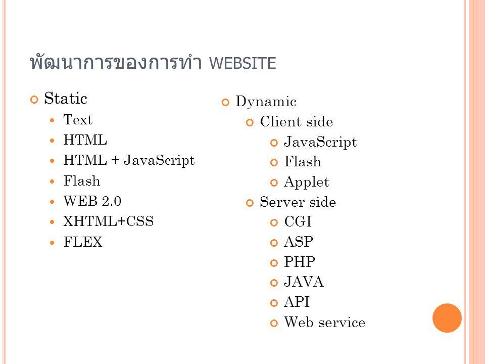 พัฒนาการของการทำ website