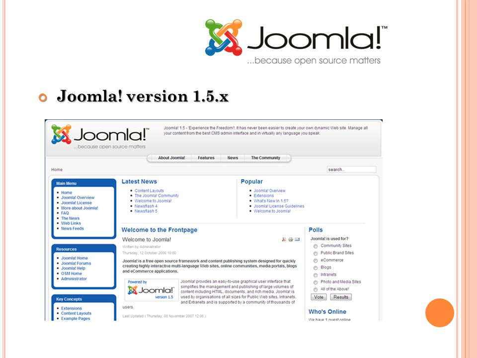 Joomla! version 1.5.x