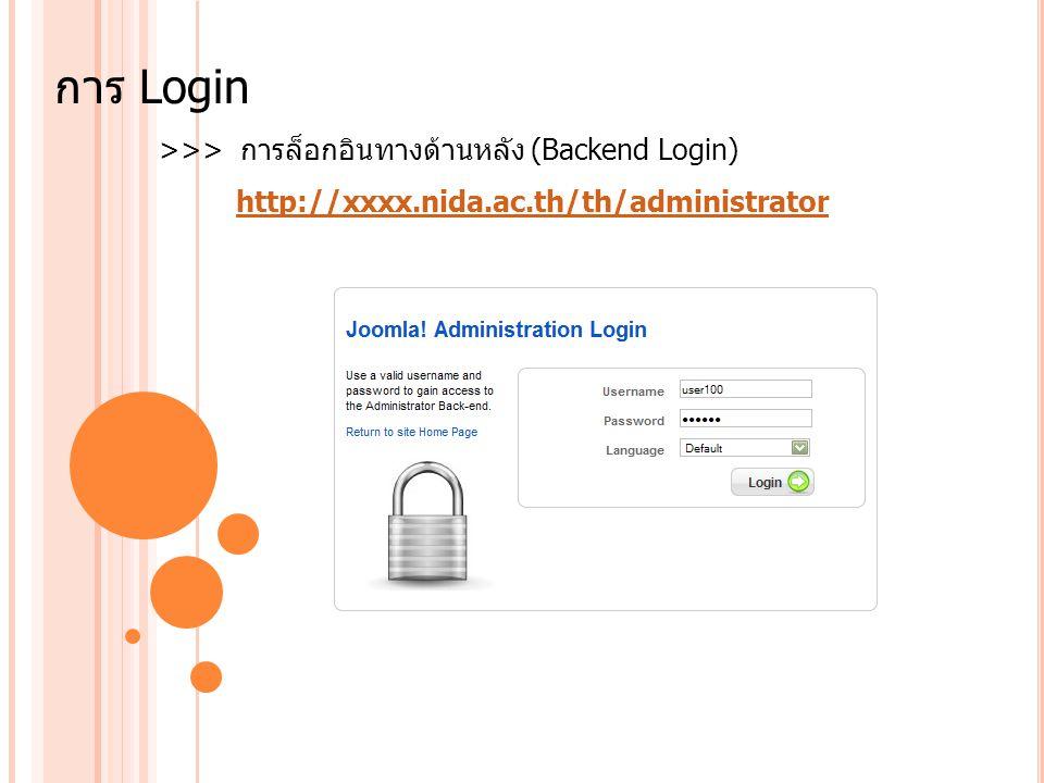 การ Login >>> การล็อกอินทางด้านหลัง (Backend Login)