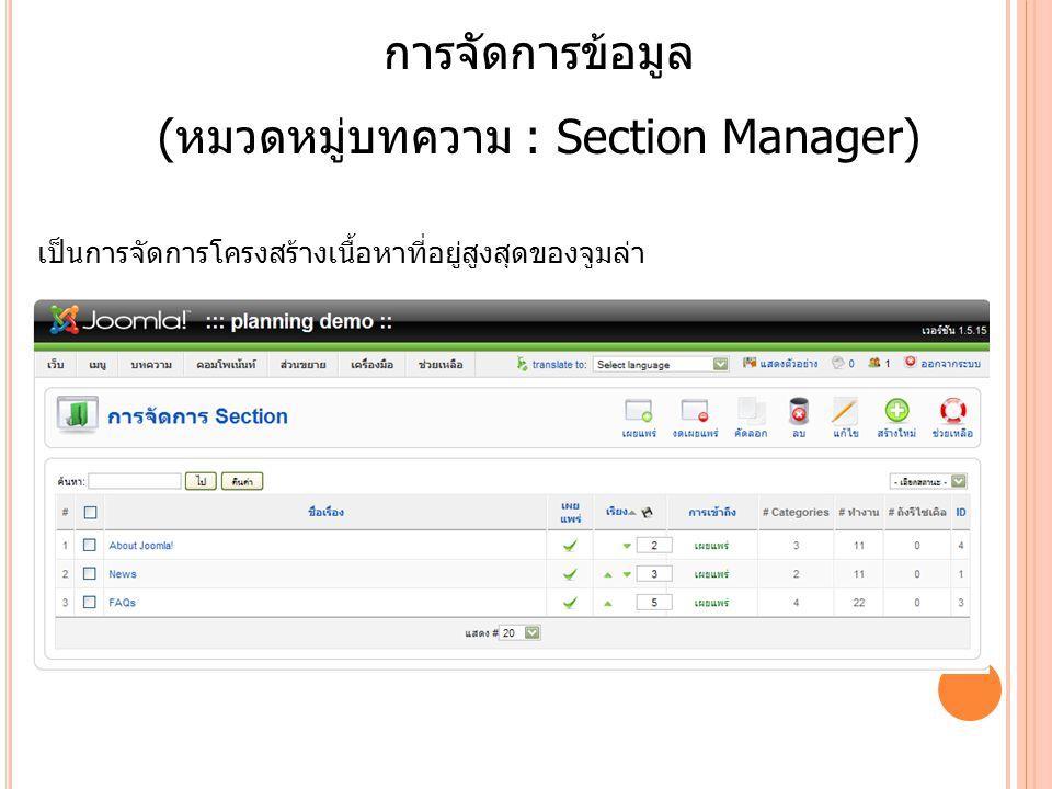 (หมวดหมู่บทความ : Section Manager)