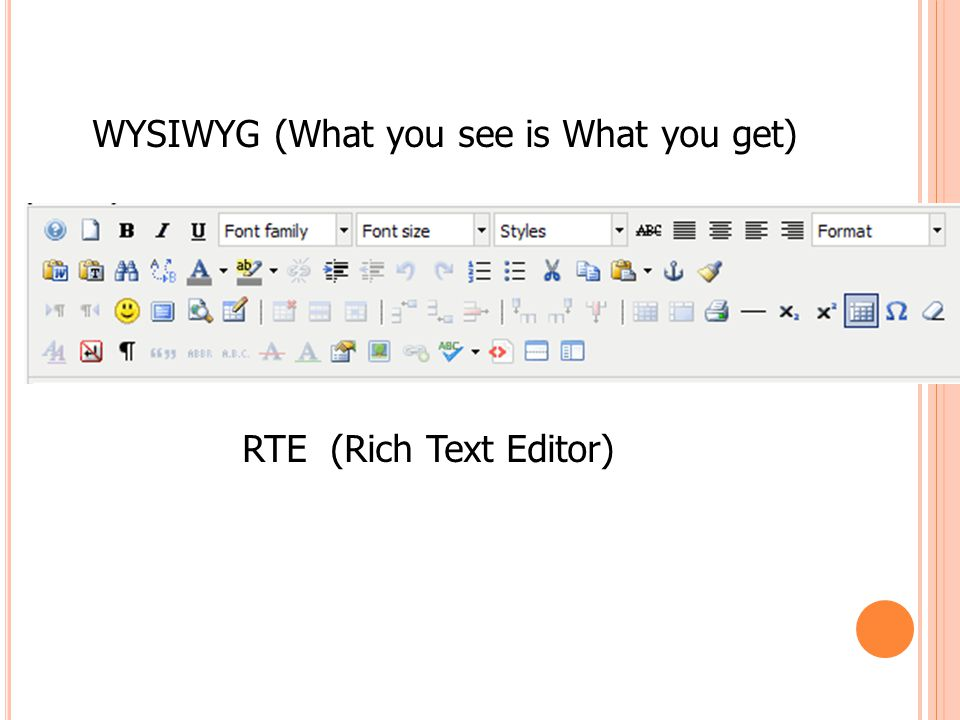 WYSIWYG (What you see is What you get)