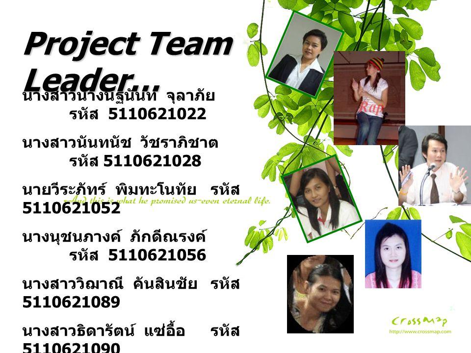 Project Team Leader… นางสาวนางนัฐนันท์ จุลาภัย รหัส 5110621022