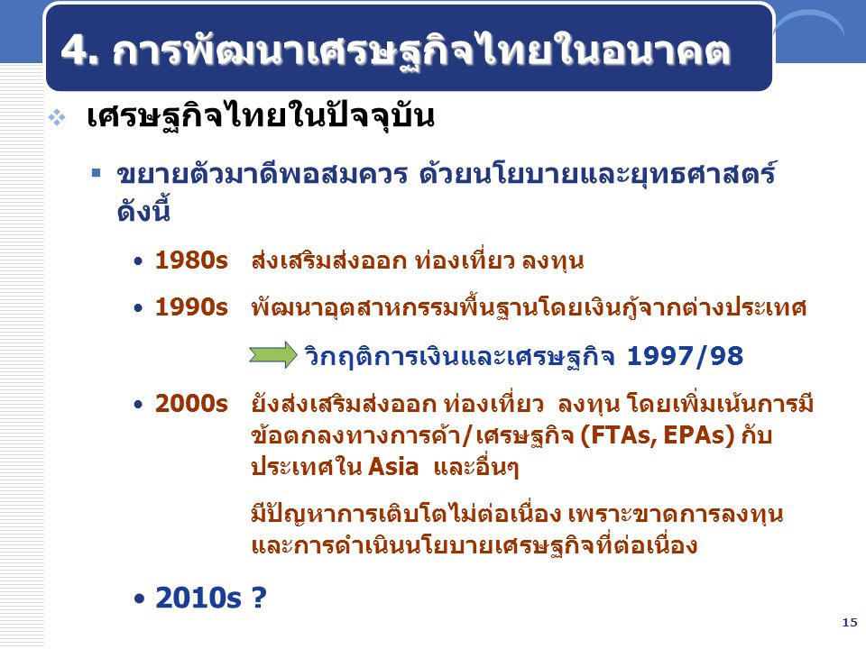 4. การพัฒนาเศรษฐกิจไทยในอนาคต