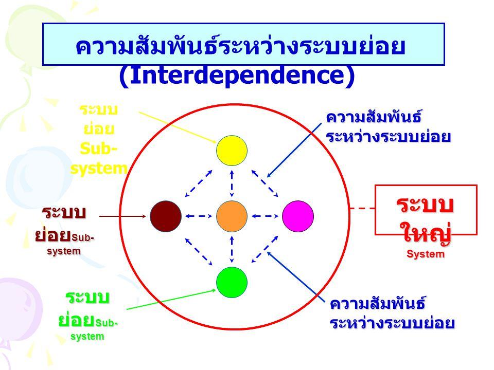ความสัมพันธ์ระหว่างระบบย่อย (Interdependence)