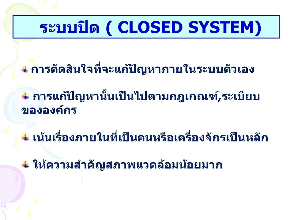 ระบบปิด ( CLOSED SYSTEM)