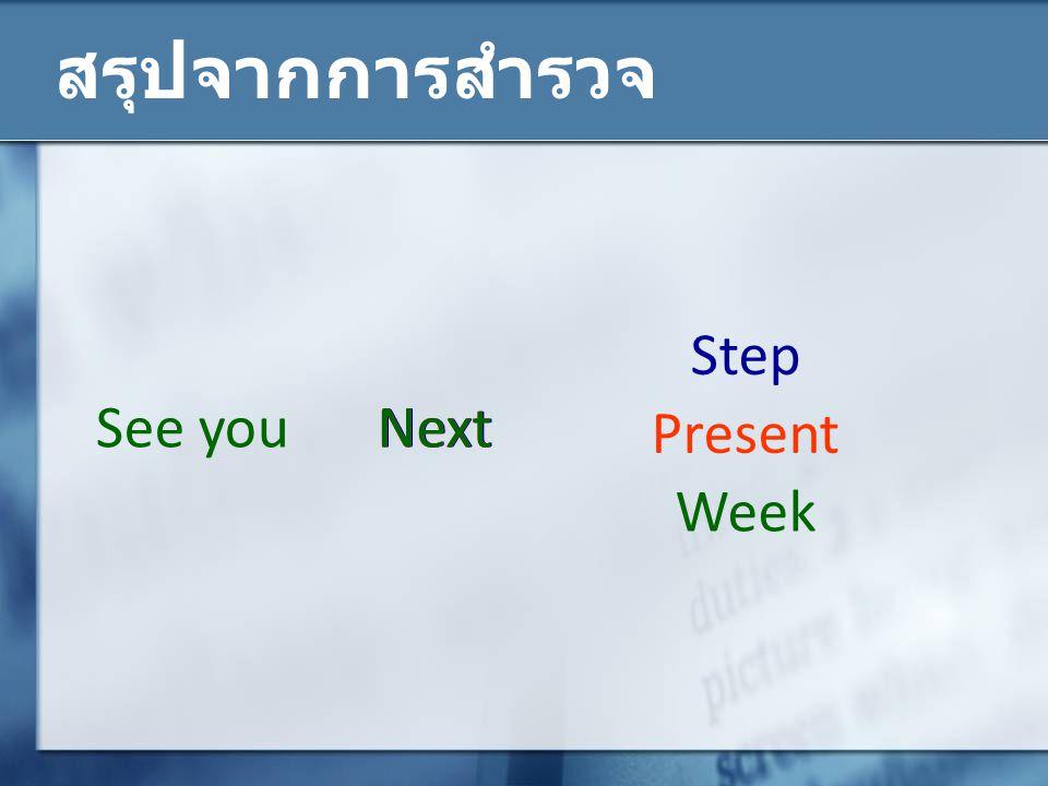 สรุปจากการสำรวจ Step See you Next Next Next Present Week