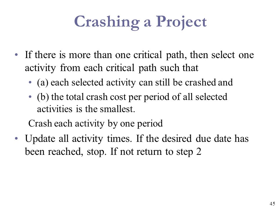 Crashing a Project If there is more than one critical path, then select one activity from each critical path such that.