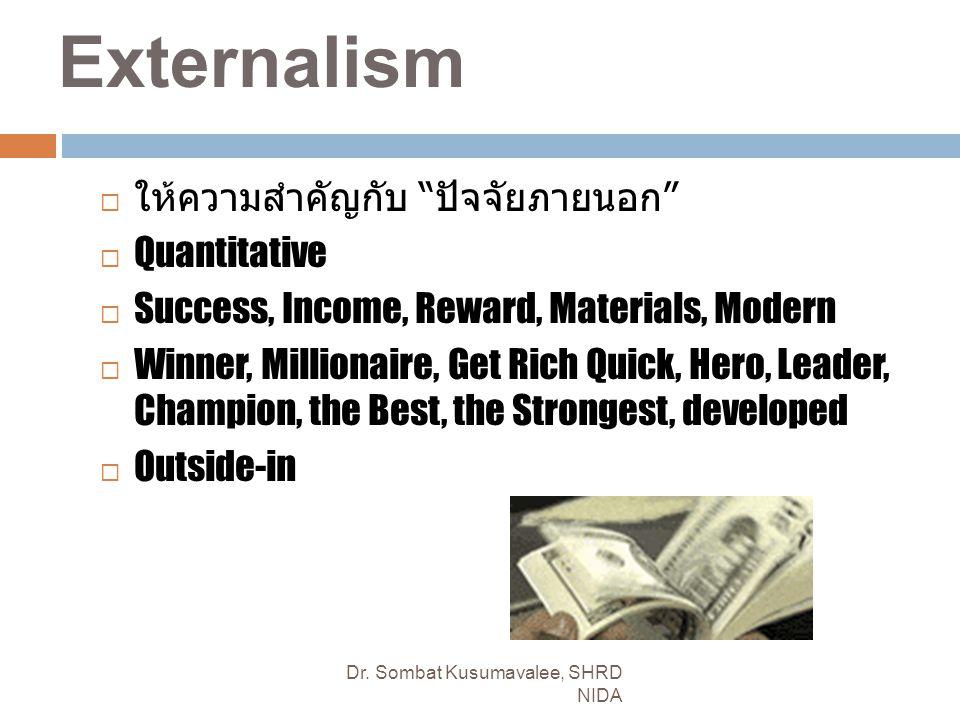Externalism ให้ความสำคัญกับ ปัจจัยภายนอก Quantitative