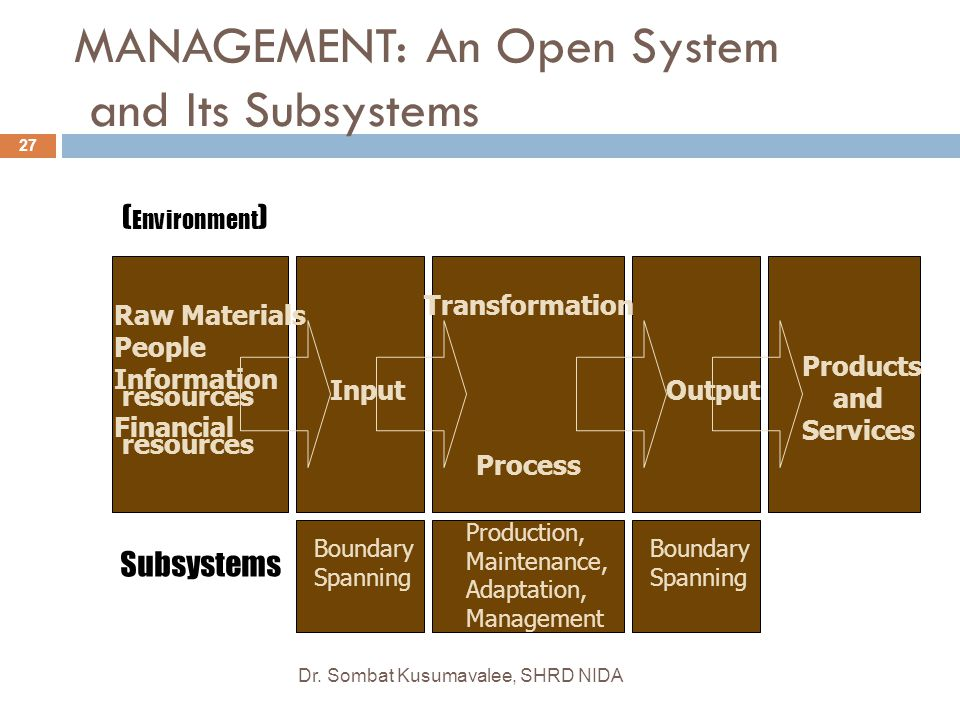 MANAGEMENT: An Open System and Its Subsystems