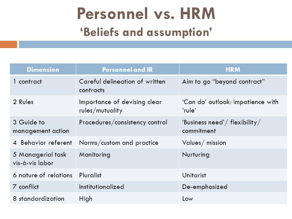 Personnel vs. HRM 'Beliefs and assumption'