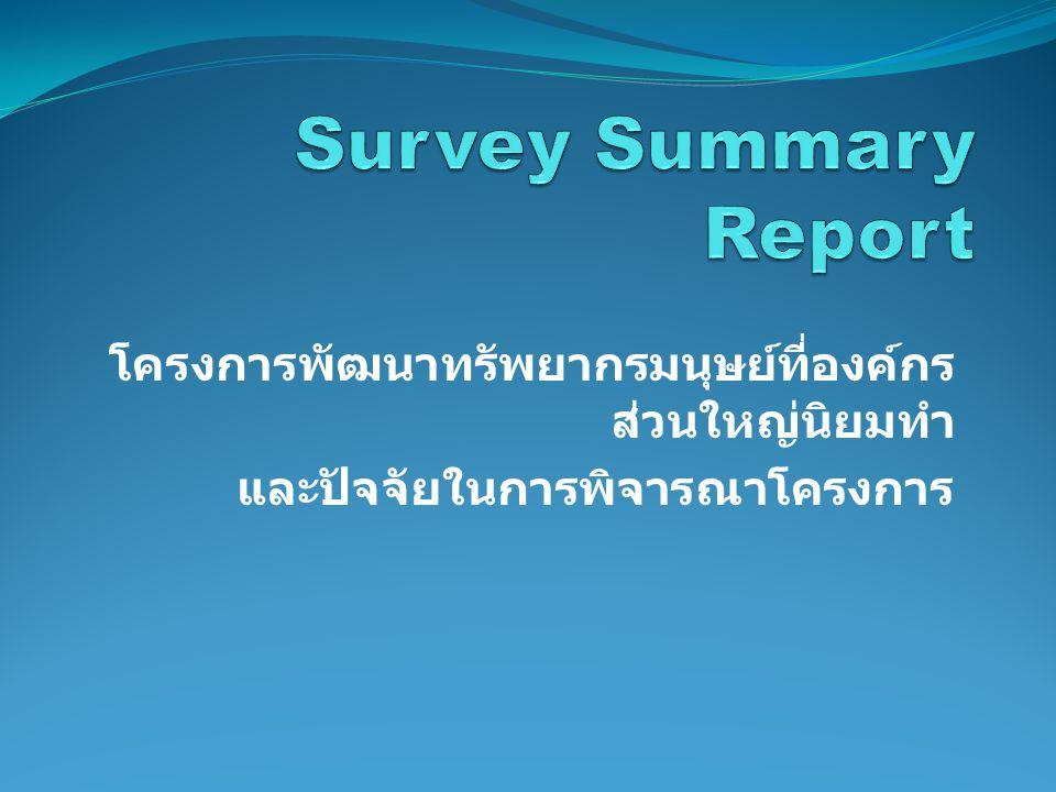 Survey Summary Report โครงการพัฒนาทรัพยากรมนุษย์ที่องค์กรส่วนใหญ่นิยมทำ.
