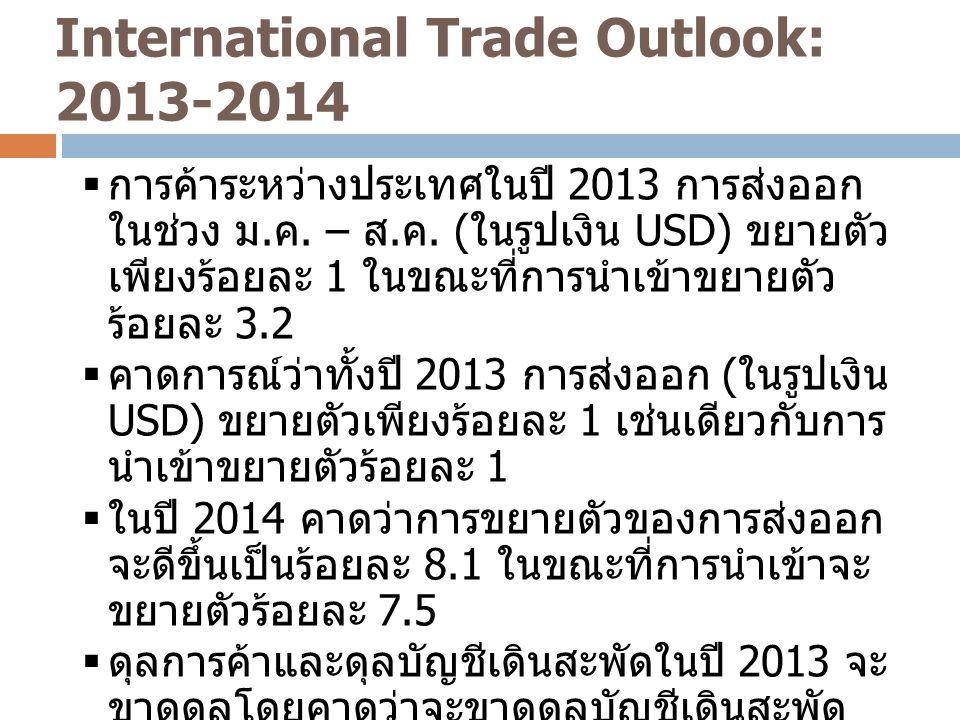 International Trade Outlook: 2013-2014