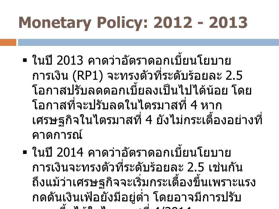 Monetary Policy: 2012 - 2013