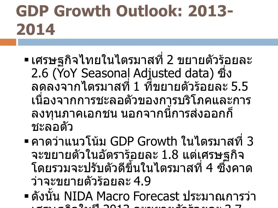 GDP Growth Outlook: 2013-2014