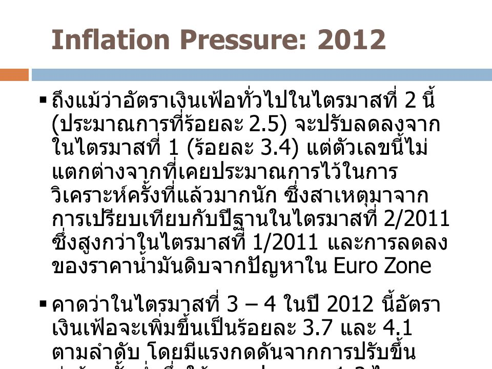 Inflation Pressure: 2012