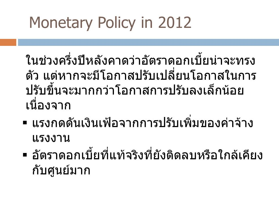 Monetary Policy in 2012