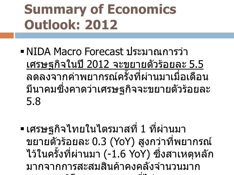 Summary of Economics Outlook: 2012