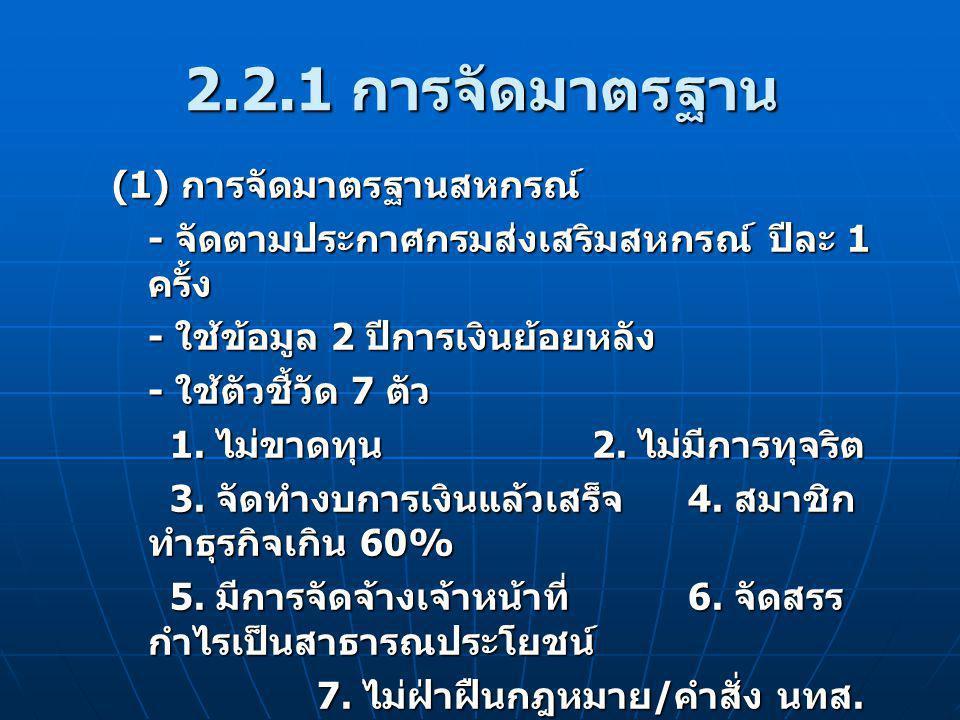 2.2.1 การจัดมาตรฐาน (1) การจัดมาตรฐานสหกรณ์