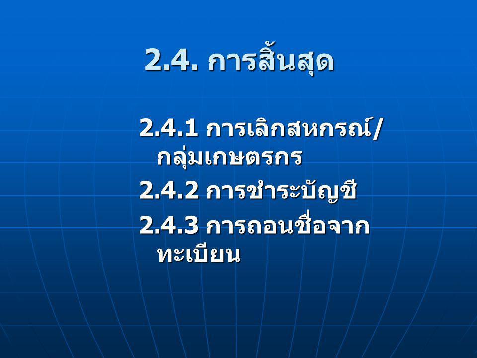2.4. การสิ้นสุด 2.4.1 การเลิกสหกรณ์/กลุ่มเกษตรกร 2.4.2 การชำระบัญชี