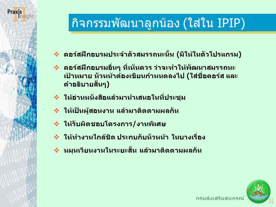 กิจกรรมพัฒนาลูกน้อง (ใส่ใน IPIP)