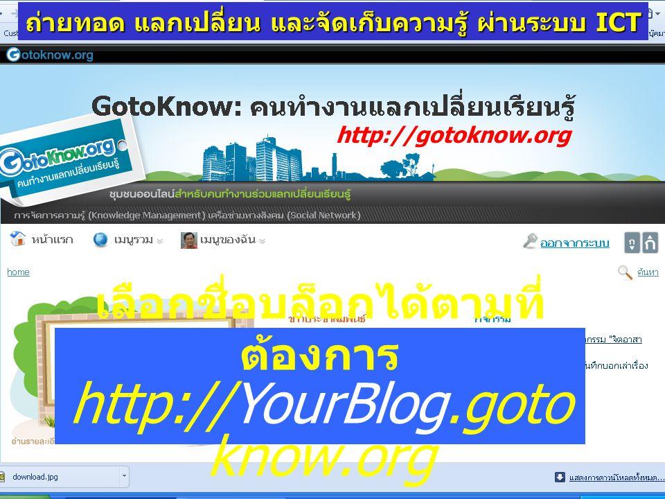 เลือกชื่อบล็อกได้ตามที่ต้องการ http://YourBlog.gotoknow.org