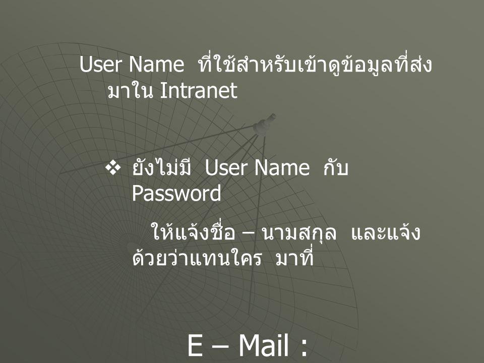 User Name ที่ใช้สำหรับเข้าดูข้อมูลที่ส่งมาใน Intranet